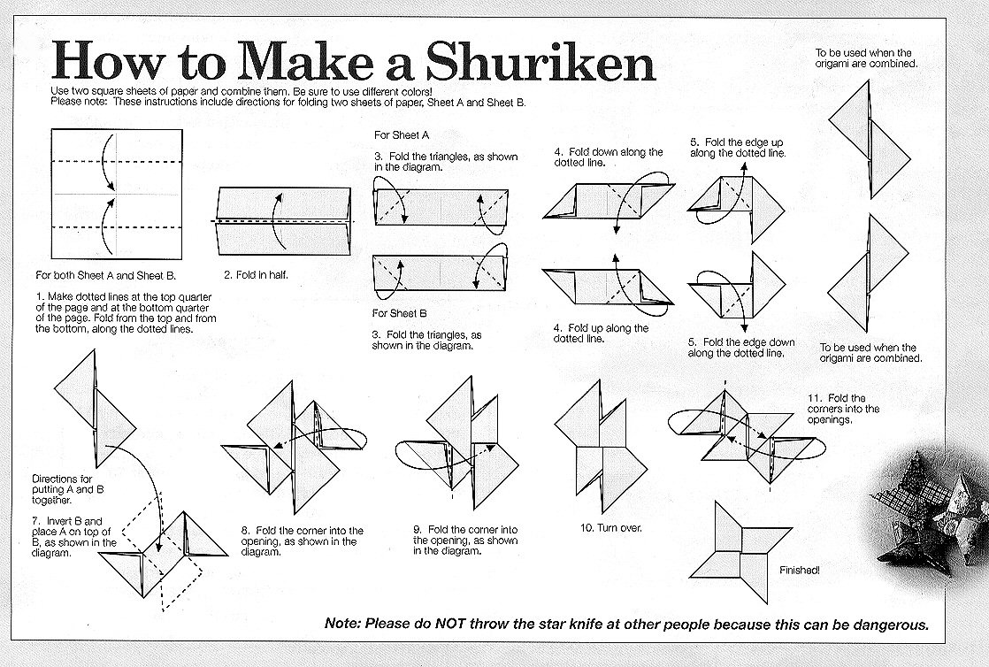 Origami Ninja Star - Origami Shuriken Folding Instructions